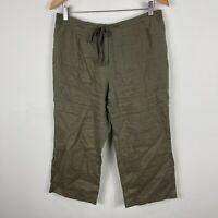 Jump Womens Linen Pants 12 Khaki Green Elastic Waist Drawstring Straight Capri