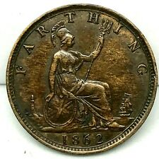 "Great Britain Victoria Bronze 1862 Farthing  Small "" 8 "" KM# 747.2. Excellent."