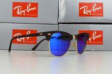 Ray-Ban Clubmaster RB3016 51mm Sunglasses Tortoise / Mirror Blue Polarised Lens