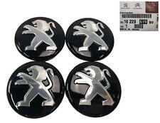 GENUINE PEUGEOT 60mm ALLOY WHEEL CENTER CAP x 4 1622961980 GLOSS BLACK & CHROME