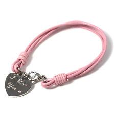 Personalised Engraved Ladies Silver Heart Pink Bracelet Birthday Gift engraving