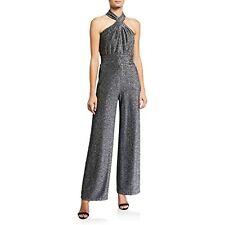 $155 Michael Kors Women's Metallic Twist-Front Halter Jumpsuit Size Medium