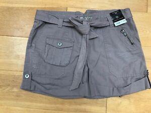 BNWT DOROTHY PERKINS Ladies Brown Putty 100% Cotton Shorts Belt @ Size 12 NEW DP