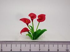 1:12th  Red Calla Lily Flowers Doll House Miniatures Flowers , Garden