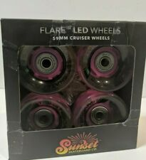 Sunset Skateboard Co. 59mm 78a Led Light-Up Cruiser Wheels (4-Pack) with purple