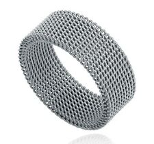 7mm Unique Black Silver Flat Mesh Flexible 316L Stainless Steel Ring Men Women