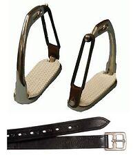 """Childs English Saddle 3 3/4"""" Safety Stirrups w/ Black Leathers Breakaway Irons"""