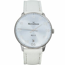 MeisterSinger NEO Ladies Stainless Leather Date Watch NQ208  German Swiss Made