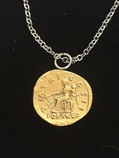 """Aureus Of Hadrian Coin WC59 Gold Pewter On 24"""" Silver Plated Chain Necklace"""