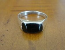 Black Onyx Stone Inlay Sterling Silver 925 Band Ring Size 8