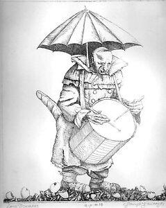 """""Lone Drummer"" original copper engraving by Henryk Fantazos signed numbered"