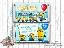 10 Teal & Yellow CRAZY FUN MINIONS Custom Birthday Mini Hershey Candy Bar Wraps
