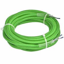 (4,23€/1m) Textil Leitung 4 Meter Strom Kabel grün Ummantelt Pendel Lampen Leitu