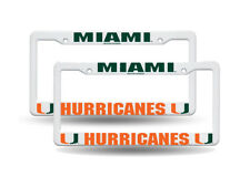 Miami Hurricanes NCAA Raised Letter White Plastic License Plate Frame Set