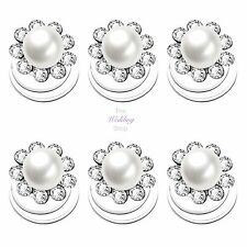 Bridal Wedding Pearl & Crystal Flower Hair Coils Swirls Spirals Twists Pins HP14