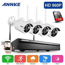 ANNKE 1080P 4CH Network NVR 2500TVL Wireless WLAN Security IP Camera System 1TB