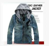 New Men's Slim Fit Classic Retro Thicken Coat Jean Denim Jacket Lapel Outerwear