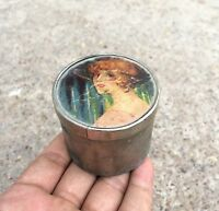VINTAGE HAND PAINTED (SILVER PART) BEAUTIFUL LADY PRINTED  PAPER BOX , GERMANY