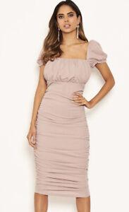 AX Paris Ruched Midi Puff Dress Womens Size 12 Bnwt