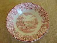 Alfred Meakin Red Cereal Soup Dessert Bowl England SUNGLOW flowers farm fields