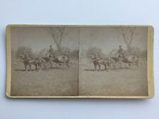 Stereoview Photo Horse-Drawn Hearse Coffin Funeral Carriage 1800's SV