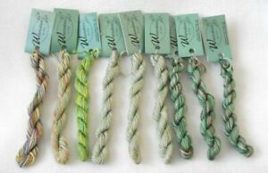 THREAD - WATERCOLOURS BY CARON - LOT OF 9 - VARIEGATED GREENS, PINK, TAN  - NEW!