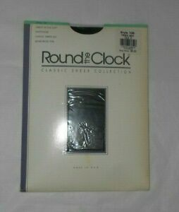 1 NIP 1990 Round the Clock CLASSIC SHEER PANTYHOSE Style 135 Size D FRENCH NAVY