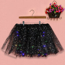 Women's Star Sequins Mesh Pleated Tulle Princess Party Skirt With LED Bulb Skirt