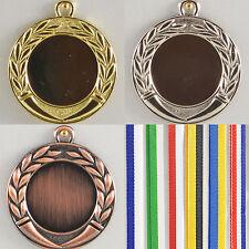 silber und bronzefaben mit Band Reste Medaille Metall 45mm incl Emblem gold-