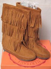 "SO Faux Suede Fringe Boots ""Lunchbox"" Rust 3 Rows of fringe Size 10  NEW"