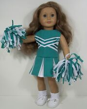 3pc SEA GREEN Cheer Cheerleader Doll Clothes Pom-Poms For 18 American Girl (Debs