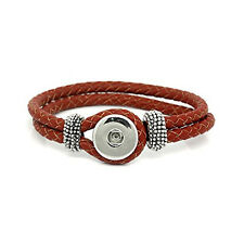 Real Leather Copper Braiding Charm Bracelets Red Chunk Button Fit Interchangeabl