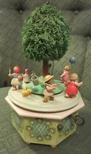 Vintage Erzgebirge Musical Revolving Carousel With Children Playing round a Tree
