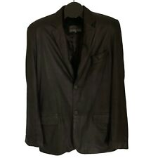Johnston & Murphy Mens Black Genuine Leather Blazer Size 42 Jacket Sport Coat