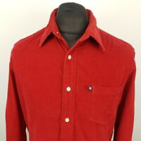 Polo Ralph Lauren Mens Vintage Corduroy Shirt MEDIUM Long Sleeve Red Regular