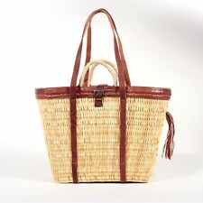 Market or Picnic Basket with Leather Handles, Beach-Basket