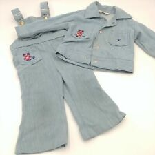 Vintage Health Tex Denim Look Overalls 2T & Jacket 3T Kid/Toddler - Frog