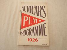 AUTOCARS  PLM  PROGRAMME 1926