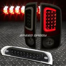 SMOKE BLACK 3D LED BRAKE TAIL LIGHT+BLACK THIRD BRAKE CARGO LIGHT FOR 02-05 RAM