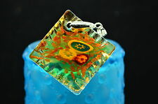 925 STERLING SILVER VERY LARGE AMBER FLOWER DICHROIC GLASS PENDANT CHARM #X13797