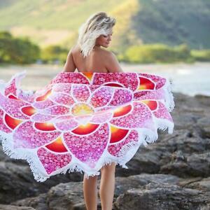 Vagabond Lotus Love Beach Towel 62'' diameter round beach towel