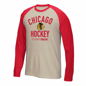 """Chicago Blackhawks CCM NHL """"Winner"""" Tri-Blend Men's Long Sleeve White Crew Shirt"""