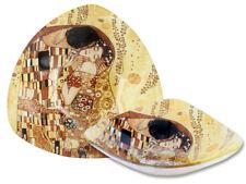 Gustav Klimt Schale Der Kuß 1.Wahl Glasschale 17,5x17,5cm Platte 3 eckig Kuss