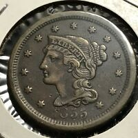 1855 LARGE CENT BRAIDED HAIR HIGH GRADE COIN