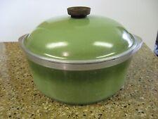 """Vintage Club Cookware 4 Qt 10"""" Aluminum Dutch Oven Stock Pot w/Lid Avocado Green"""
