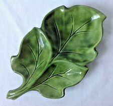 Vintage Ceramic Green Leaf Dish Bowl w 3 Sections for Relish Condiments Candy