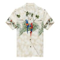 Made in Hawaii Men Hawaiian Aloha Shirt Luau Cruise Party Parrots Palm White
