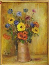 Tableau 1971 bouquet de fleurs Tiengoo Soucis et Bleuets