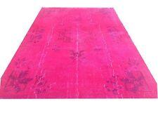 "9'8""x6'2"" Vintage hot Pink fuchsia pink blue Overdyed carpet oushak rug tapis"