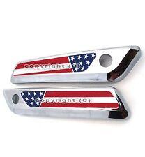 2 Saddlebag Latch Reflector Insert Decals for 2014 Harley - USA AMERICAN FLAG